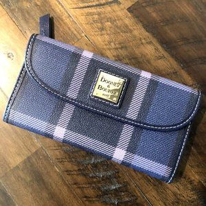 Navy Blue Plaid Wallet- GREAT SHAPE